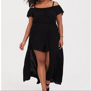Torrid cold shoulder maxi dress with romper size 2